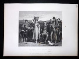 After David Wilkie C1870 Antique Print. Sir Walter Scott and his Family